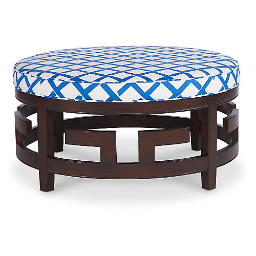 Lilo Cocktail Ottoman, Blue/White