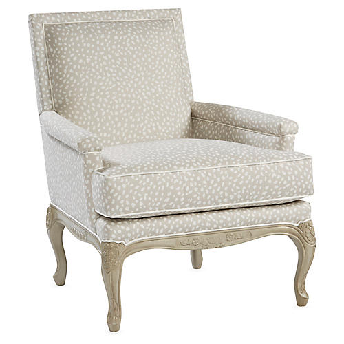Tiverton Accent Chair, Gray Linen
