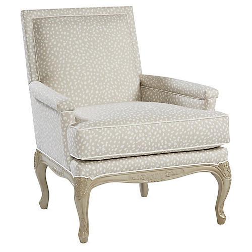 Tiverton Accent Chair, Gray Linen