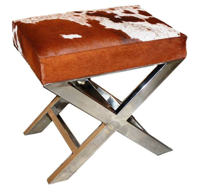 """Peter 23"""" X-Bench, Brown/White Hide"""