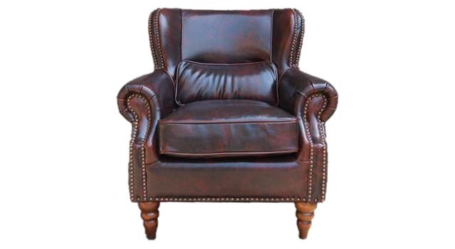 Westmont Leather Club Chair, Dark Cherry