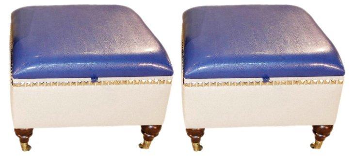 Blue Grant Storage Ottomans, Pair