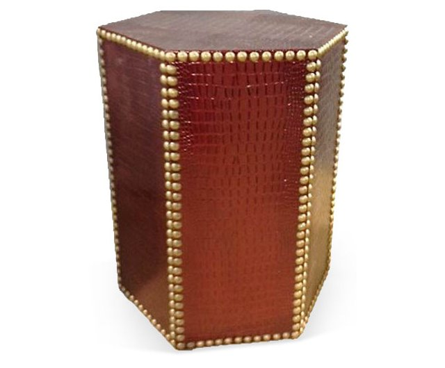 Blake Textured Side Table, Burnt Orange