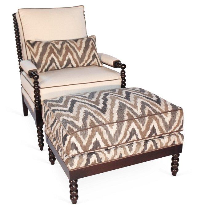 Gregg Chair & Ottoman, Pecan