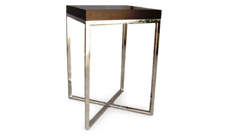 """Abbie 15"""" Square Side Table, Sepia"""