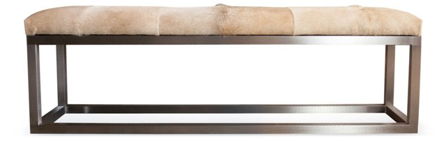 """Kelly 63"""" Hide Bench, Champagne"""