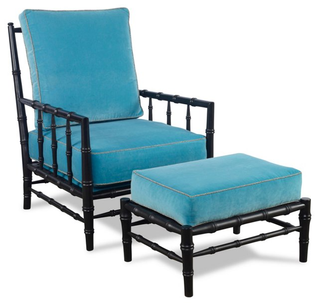 Beaufort Chair & Ottoman, Turquoise