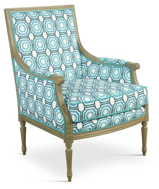 Phillip Cotton Accent Chair, Turquoise