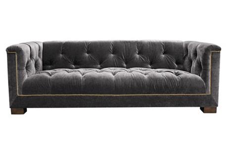 Guillaume Sofa, Charcoal Velvet