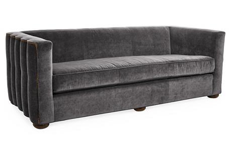 Gatsby Scalloped Sofa, Charcoal Velvet