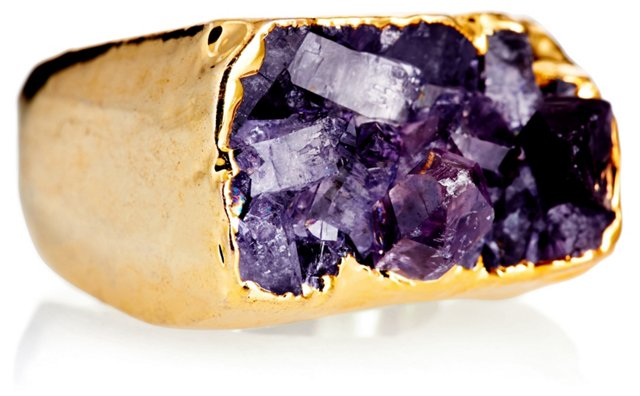 Gold-Plated Drusy Ring, Purple