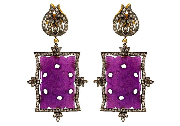 Leila Purple Resin Earrings