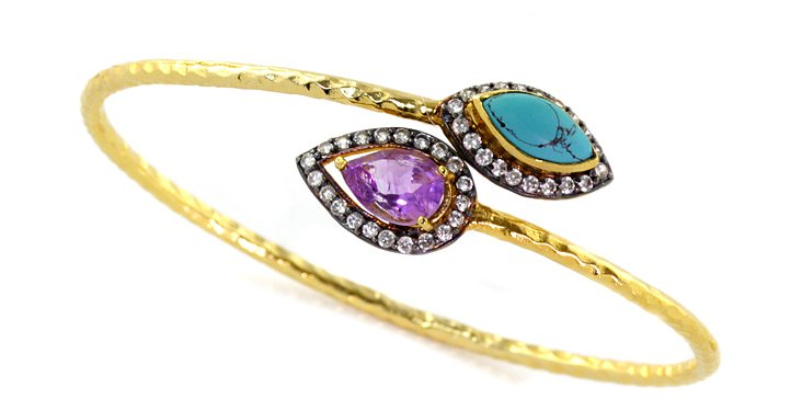 Turquoise & Amethyst Sonia Bangle