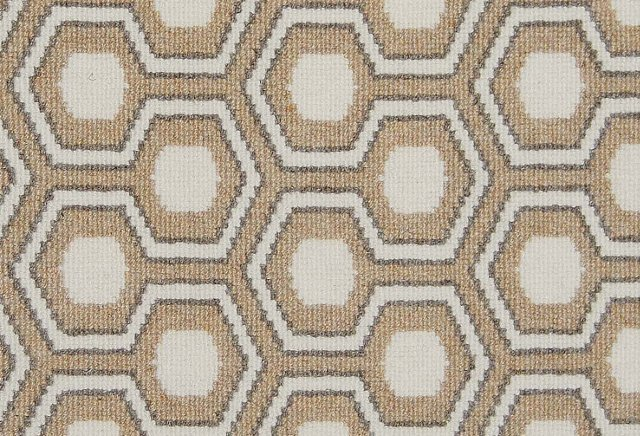 Hexagon House Wool Rug, Beige