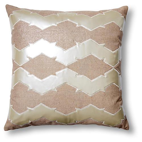 Lauren 22x22 Linen-Blend Pillow, Pearl