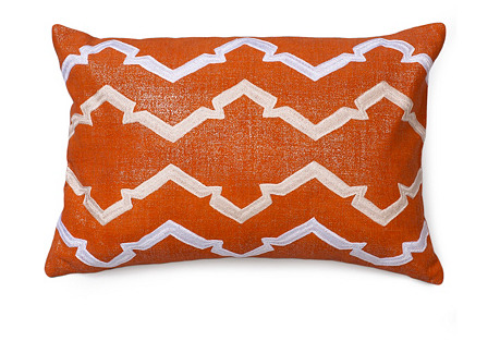Finley 16x24 Embroidered pillow, Lava