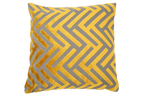 Susan 22x22 Velvet Pillow, Yellow