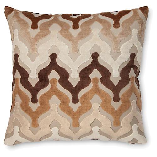 Bella 22x22 Velvet Pillow, Neutral