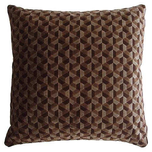 Andy 22x22 Velvet Pillow, Chocolate