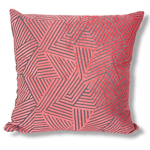 Oliva 22x22 Velvet Pillow, Coral