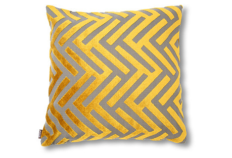 Susan 22x22 Velvet Pillow, Citrus