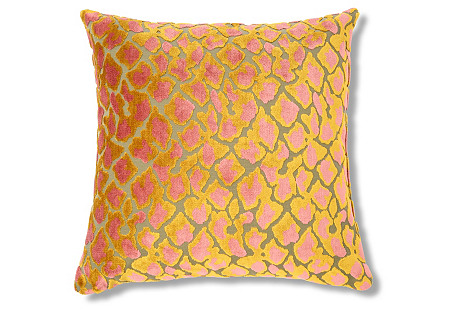 Kendrick 22x22 Velvet Pillow, Citrus