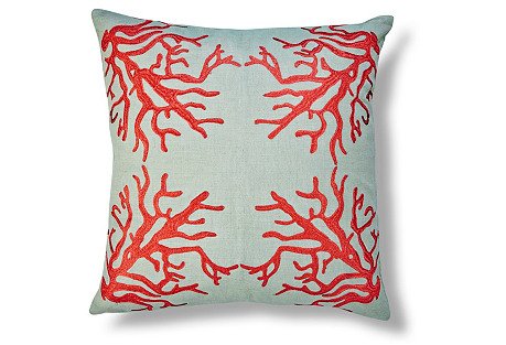 Suzanne Embroidered 22x22 Linen Pillow