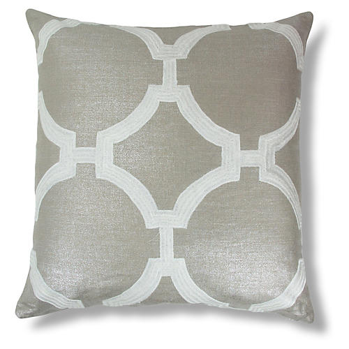 Reynolds Embroidered 22x22 Linen Pillow