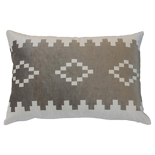Anna 24x16 Velvet Pillow, Taupe/White