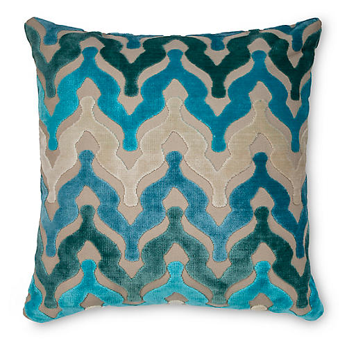 Bella 22x22 Velvet Pillow, Waterfall