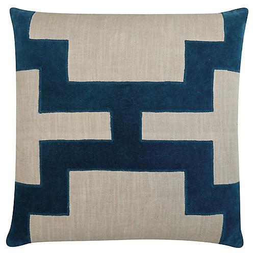 Catie 22x22 Cotton Pillow, Blue