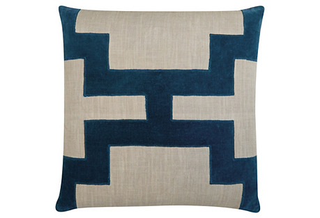 Catie 22x22 Cotton Pillow, Blue