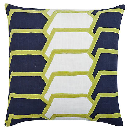 Charley 22x22 Cotton Pillow, Navy/Citrus