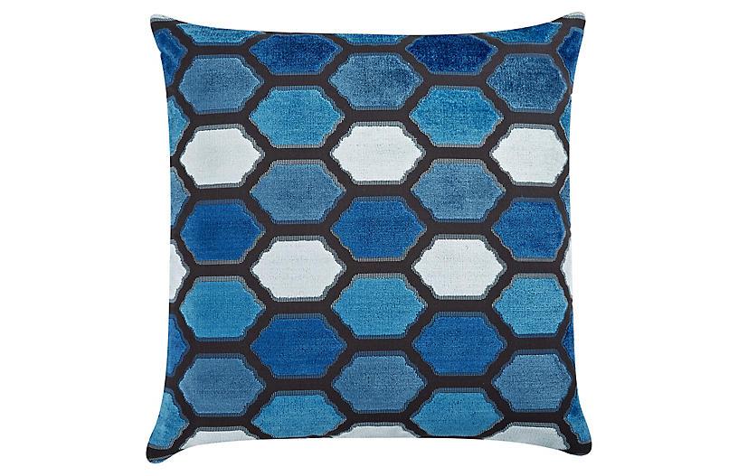 Evie 22x22 Velvet Pillow, Indigo
