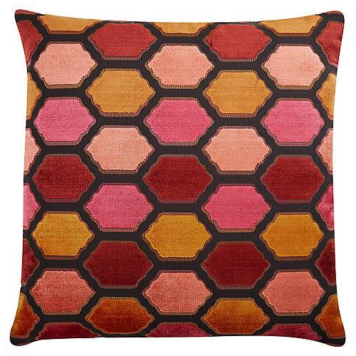 Evie 22x22 Velvet Pillow, Sunset
