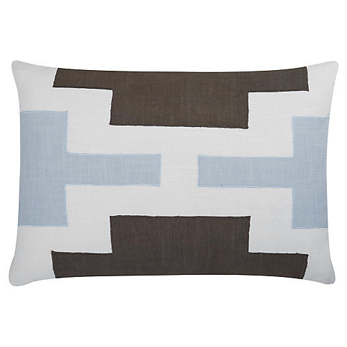 Lois 24x16 Cotton Pillow, Blue/Gray