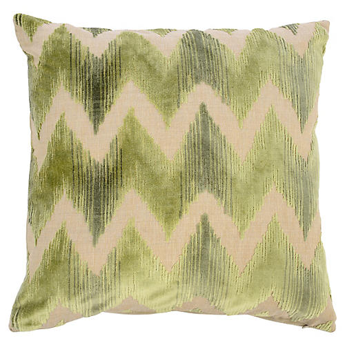 Mary 22x22 Velvet Pillow, Green