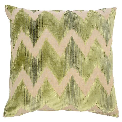 Mary 22x22 Velvet Pillow, Green
