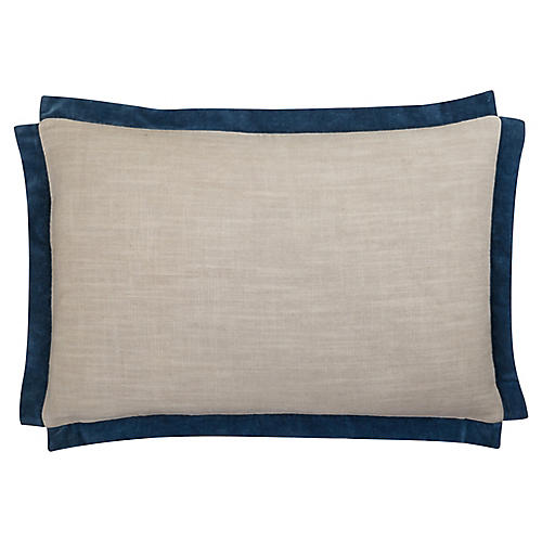Michelle 24x16 Cotton Pillow, Blue