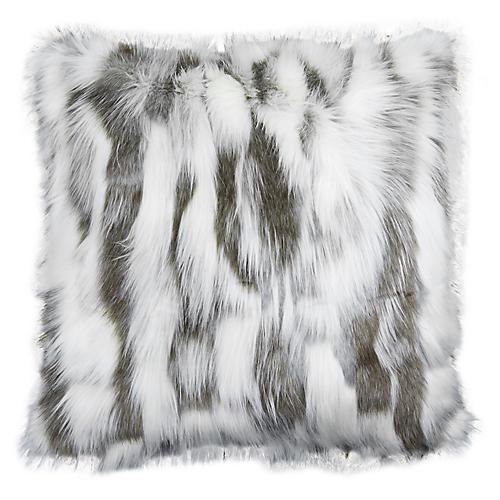 Misha 22x22 Faux-Fur Pillow, Gray/White