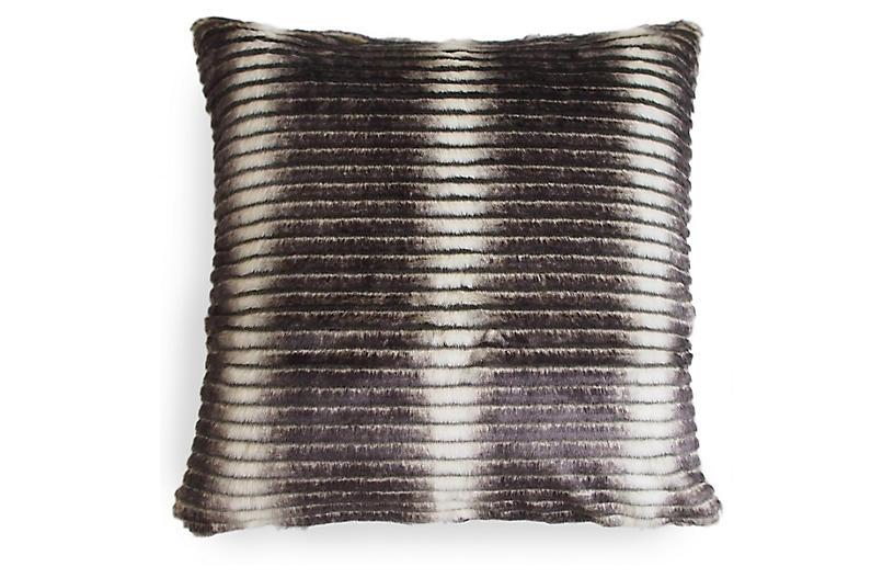 Smokey 22x22 Striped Pillow, Gray/Cream