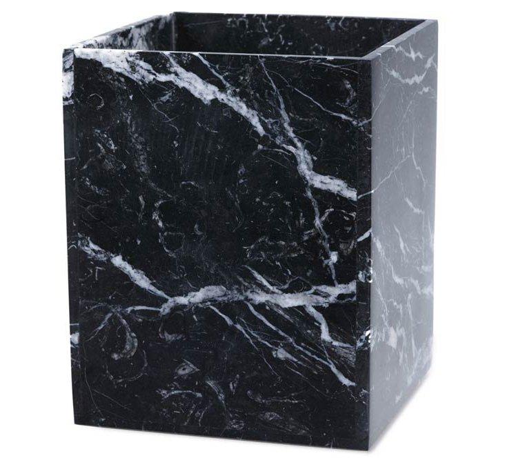 Marble Square Wastebasket, Black