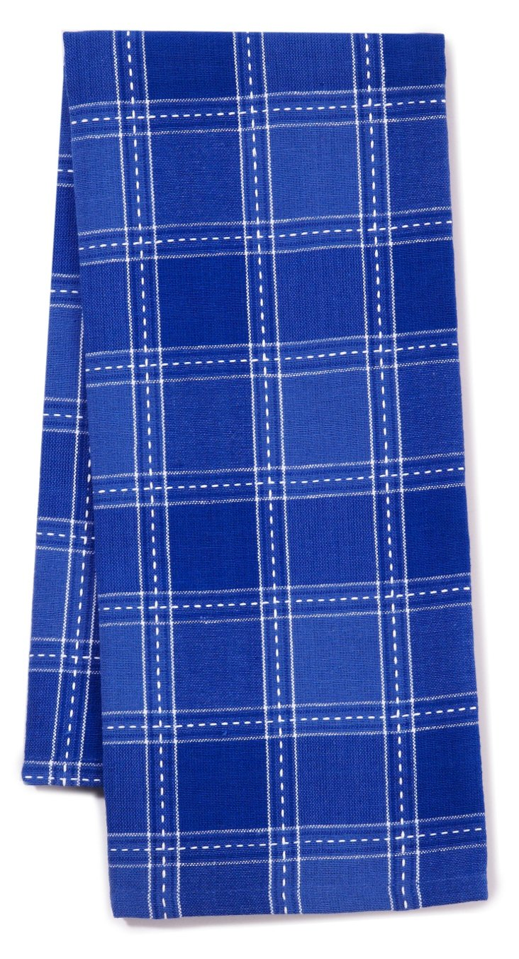 S/3 Dobby Plaid Dish Towels, Blueberry