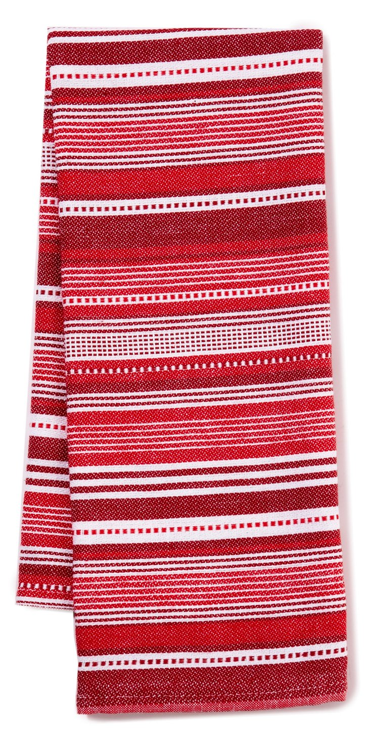 S/3 Sommer Stripe Dish Towels, Red