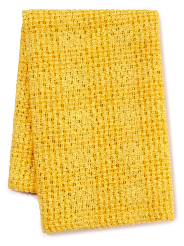 S/6 Plaid Dish Cloths, Daffodil