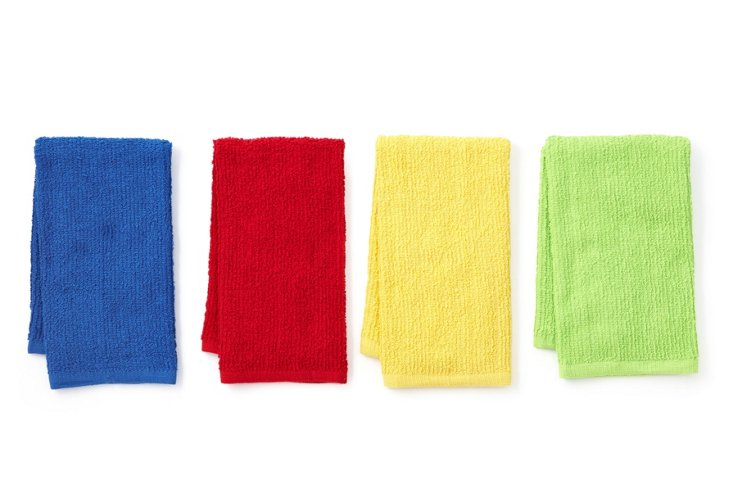 Asst of 4 Barmop Towels, Primary