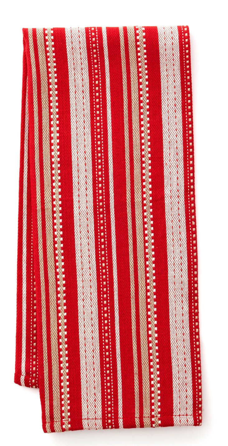 S/4 Stripe Dish Towels, Currant