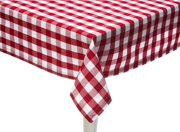 Checker Red & White Tablecloth