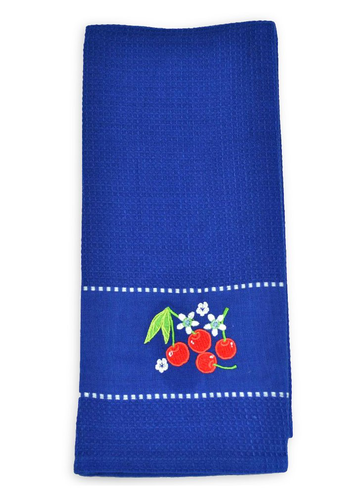 S/3 Embroidered Dish Towels, Cherries