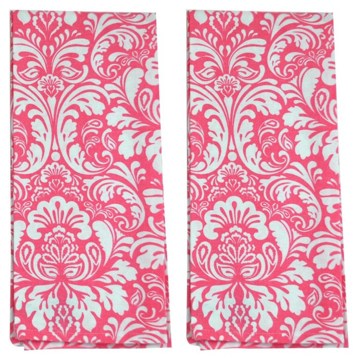 S/2 Damask Dish Towels, Pink